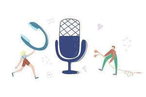 audiochat concept, podcast show hand drawn flat vector illustration. homem com fones de ouvido e personagem de desenho animado de microfone. radiodifusão de internet, conceito abstrato de entretenimento multimídia