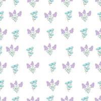 bonito padrão floral simples na pequena flor azul e roxa. textura de vetor sem emenda. impressão com pequenas flores azuis. flores da primavera, flores do verão.
