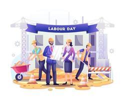 feliz Dia do Trabalho. os trabalhadores da construção estão trabalhando na construção no dia do trabalho em 1 de maio. ilustração vetorial vetor