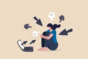 adolescente deprimida sentada sozinha com computador laptop e cursores de mão apontando para ela vetor