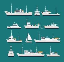 navios conjunto plano. silhuetas de vários barcos e iates vetor