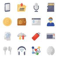 conjunto de ícones tecnológicos e de gadgets vetor