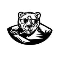 Ilustração em estilo xilogravura retrô de um urso pardo fumando um charuto vetor