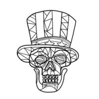 crânio do tio sam, mosaico preto e branco vetor