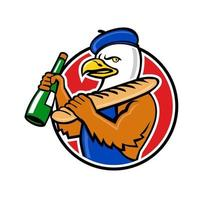 ilustração do ícone da mascote do busto de uma águia careca americana usando uma boina francesa vetor