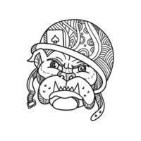 ilustração monoline da cabeça de um bulldog soldado americano usando um capacete vetor