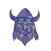mosaico da mascote da cabeça de viking vetor
