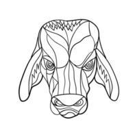 brahma cabeça de touro mosaico preto e branco vetor
