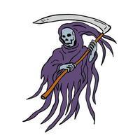 desenho desenho estilo ilustração do malvado ceifador ou morte vetor