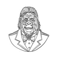 gorila vestindo smoking monoline busto vetor