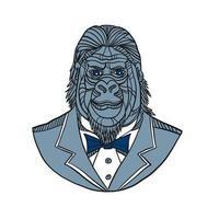 gorila smoking jaqueta monoline cor vetor