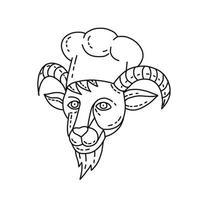 ilustração em linha mono de um chefe de cabra montesa chef vetor