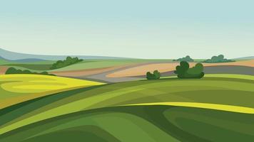 campos agrícolas na temporada de verão. vetor