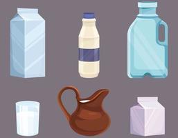 leite em recipientes diferentes. vetor