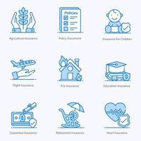 conjunto de ícones de apólice de seguro moderno vetor