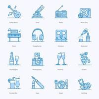 conjunto de ícones de elementos de música do bar do clube vetor