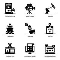 mídia moderna e conjunto de ícones de elementos de notícias vetor