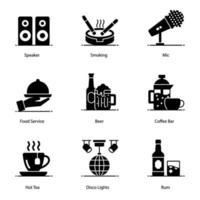 conjunto de ícones de clube, bar e música vetor