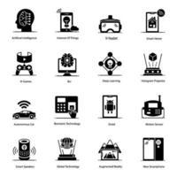 iot e conjunto de ícones de alta tecnologia vetor