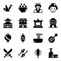 conjunto de ícones de elementos da cultura japonesa