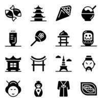 conjunto de ícones de elementos culturais japoneses