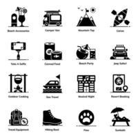 conjunto de ícones de elementos de aventura e caminhada vetor