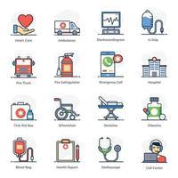 conjunto de ícones de emergência e saúde vetor