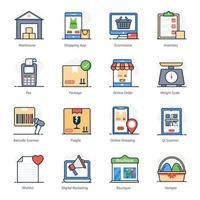 conjunto de ícones de compras e comércio eletrônico vetor