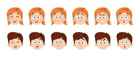expressões faciais de menino e menina vetor