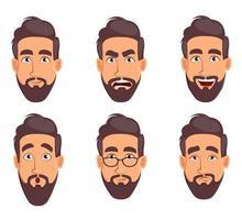 expressões faciais de homem de negócios vetor
