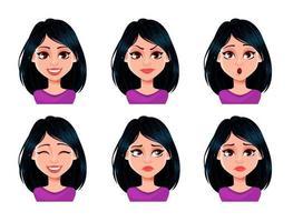 expressões faciais de mulher com cabelo escuro vetor