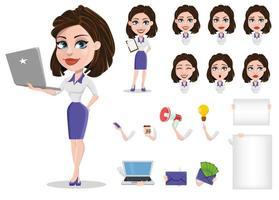 conjunto de mulher de negócios bonita. empresária no construtor de roupa formal. várias expressões faciais. vetor