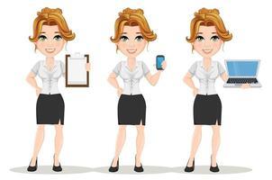 mulheres de negócios jovens dos desenhos animados. definir. linda garota sorridente em situações de trabalho vetor