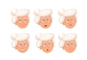 expressões faciais da avó. vetor