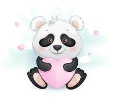 pequeno panda fofo segurando um coração rosa vetor