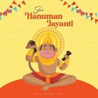 desenho de banner de Shri Hanuman Jayanti vetor