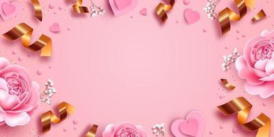 fundo rosa com rosas e ilustração de papel vetor