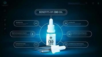 benefícios do uso de óleo cbd, cabeçote digital escuro e azul para site com garrafa de óleo cbd com pipeta. pôster com cena de néon escuro e holograma de óleo cbd vetor