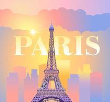 torre eiffel em paris. noite paris. pôr do sol ensolarado na França contra o pano de fundo da cidade. ilustração vetorial vetor