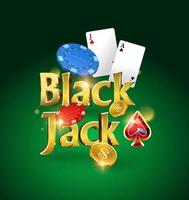 logotipo do blackjack sobre um fundo verde com cartões, fichas e dinheiro. jogo de cartas. jogo de cassino. ilustração vetorial vetor