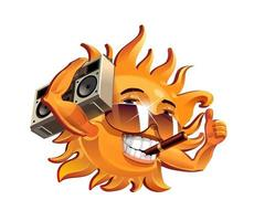 o sol divertido, fuma um charuto e ouve o gravador. ilustração vetorial vetor