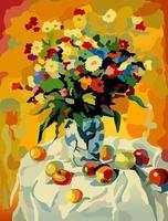 buquê de flores em um vaso sobre a mesa. uma mesa com uma toalha de mesa branca e frutas. pintura por números. ilustração vetorial. vetor