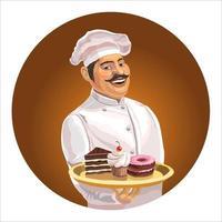 cozinheiro alegre com um bigode em um boné e com uma bandeja. em uma bandeja estão bolos e doces. isolado. ilustração vetorial vetor