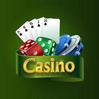 logotipo do cassino em uma fita verde. os melhores jogos de casino. dados, cartas, fichas vetor