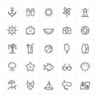 ícones de linha de praia. ilustração vetorial no fundo branco. vetor