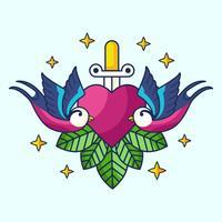 Pássaro Novo Skool Tattoo Vector
