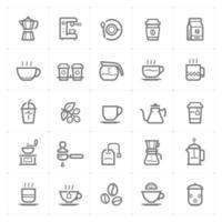 ícones de linha de café e chá. ilustração vetorial no fundo branco. vetor