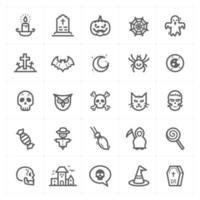 ícones de linha de halloween. ilustração vetorial no fundo branco. vetor