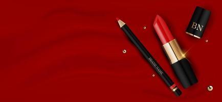 Batom vermelho realista 3D e lápis no modelo de design de seda vermelha de produtos de cosméticos de moda para anúncios, panfleto, banner ou fundo de revista. ilustração vetorial vetor