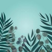 fundo azul natural abstrato com palmeira tropical, eucalipto, folhas de monstera e lugar para texto. ilustração vetorial vetor